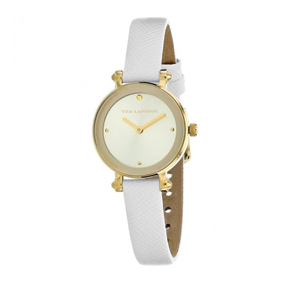 Ted Lapidus Women's Gold Dial Leather Strap Watch - A0680PTPF