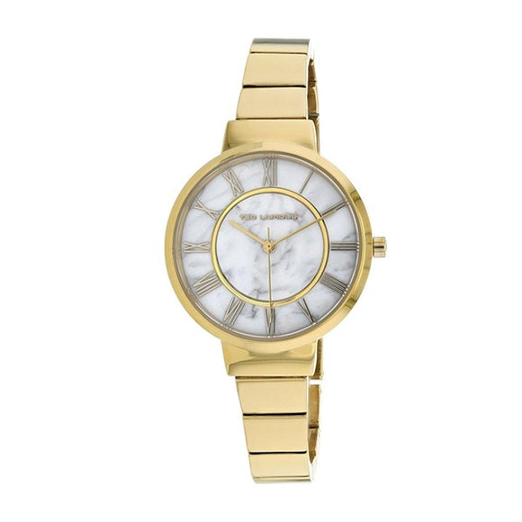 Ted Lapidus Women's Marble White Dial Gold Plated Watch - A0714PARX