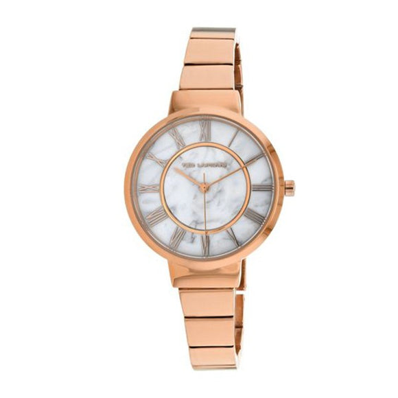 Ted Lapidus Women's Marble White Dial Rose Gold Plated Watch A0714UARX