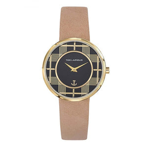 TED LAPIDUS Women's Black Dial Brown Leather Strap Watch - A0759PNNP