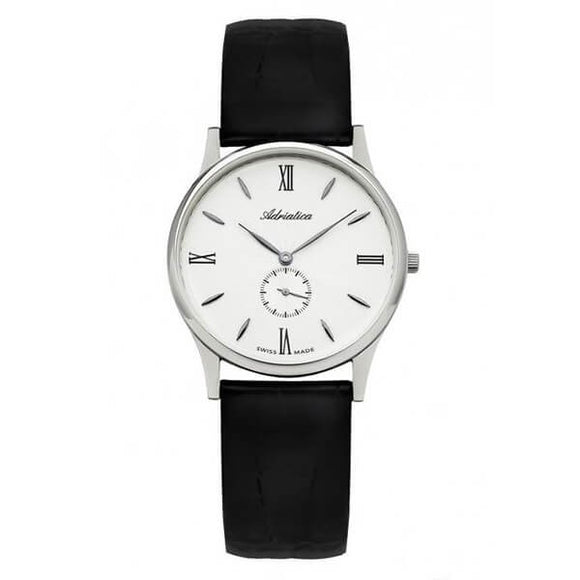 Adriatica Swiss Made Men's White Dial Leather Strap Watch A1230.5263Q