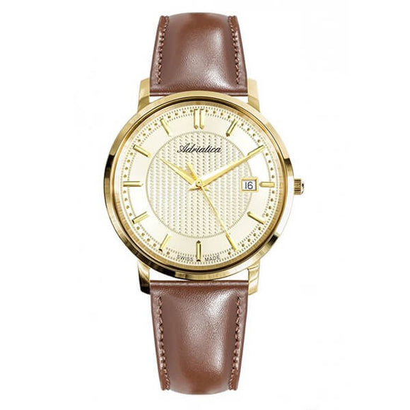 Adriatica Swiss Made Men's Gold Dial Leather Strap Watch - A1277.1211Q