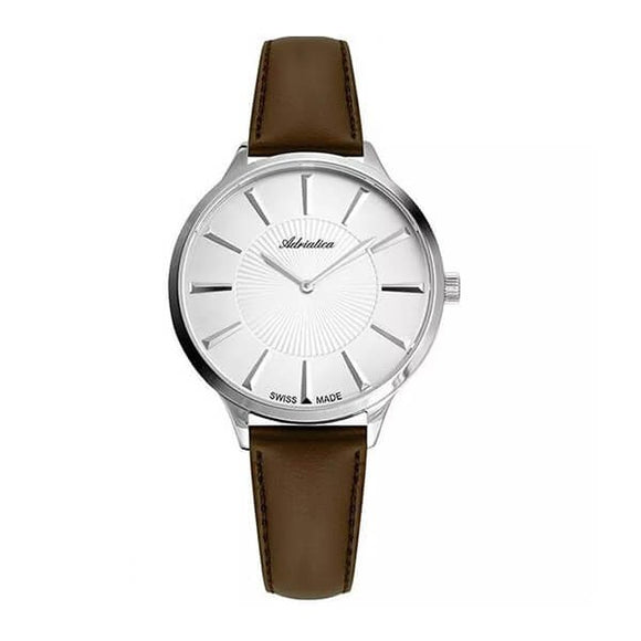 Adriatica Swiss Made Womens White Dial Leather Strap Watch A3211.5B13Q