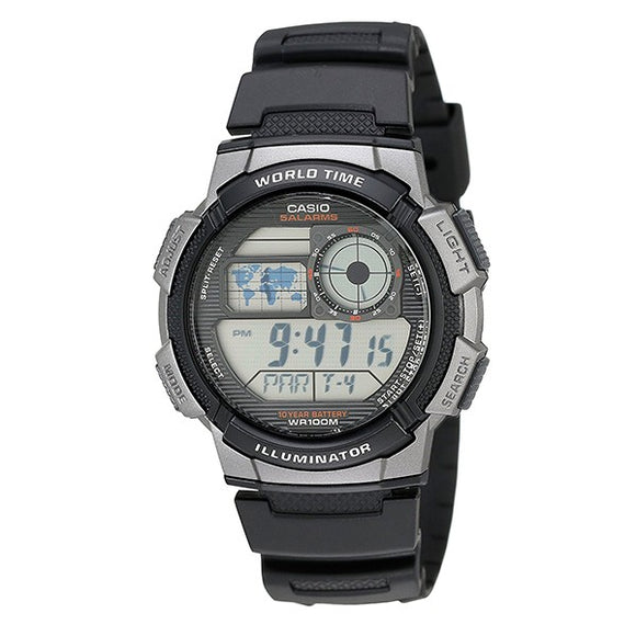 Casio Unisex Black Dial Black Resin Case back Black Resin Band Digital Watch  AE1000W-1B