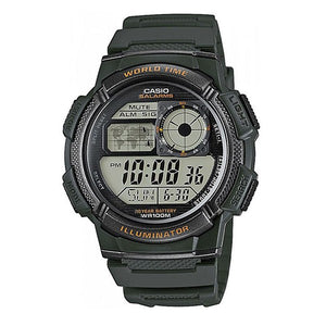 Casio Men's Green Dial Green Resin Case Green Rubber Band Digital Watch AE1000W-3A