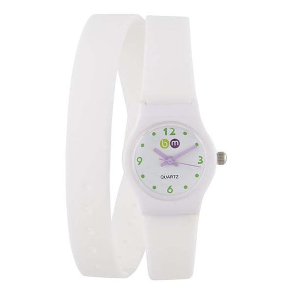 Bart & Melon Women's White Dial White Polycarbonate Case silicon Band Analog Watch 11-NL004