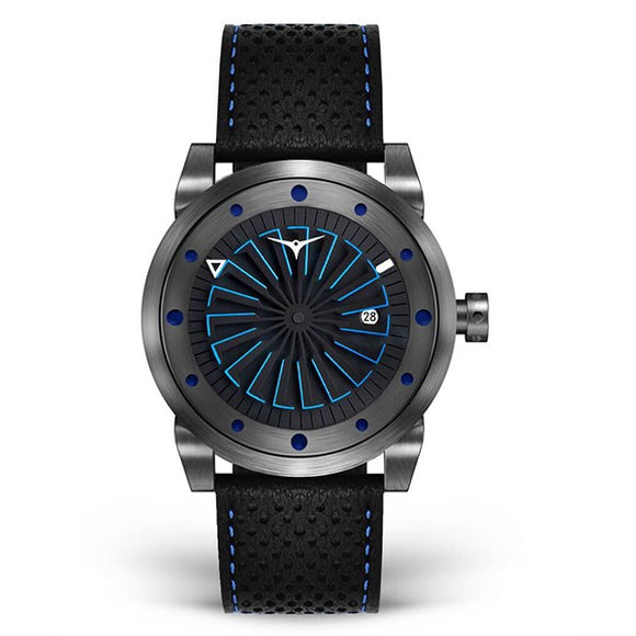 Zinvo Men's Leather Strap Automatic Skeleton Mechanical Watch - Blade Nitro 1