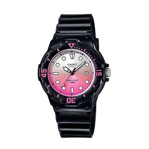 Casio Women's Pink Dial Black Resin Band and case Analog Watch LRW-200H-4E