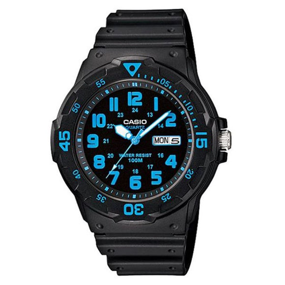 Casio Men's Blue-Black Dial Black Resin Band Analog Watch MRW-200H-2B