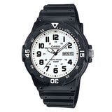 Casio Men's White Dial Black Resin Band Analog Watch MRW-200H-7B