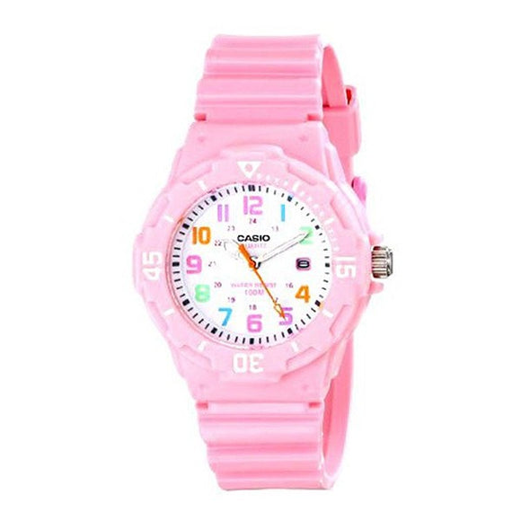 Casio Women's White Dial Pink Resin Band and case Analog Watch LRW-200H-4B2