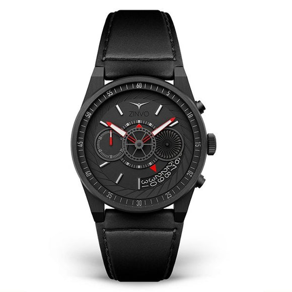Zinvo Men's Leather Strap Chronograph Watch - Chrono Black 1