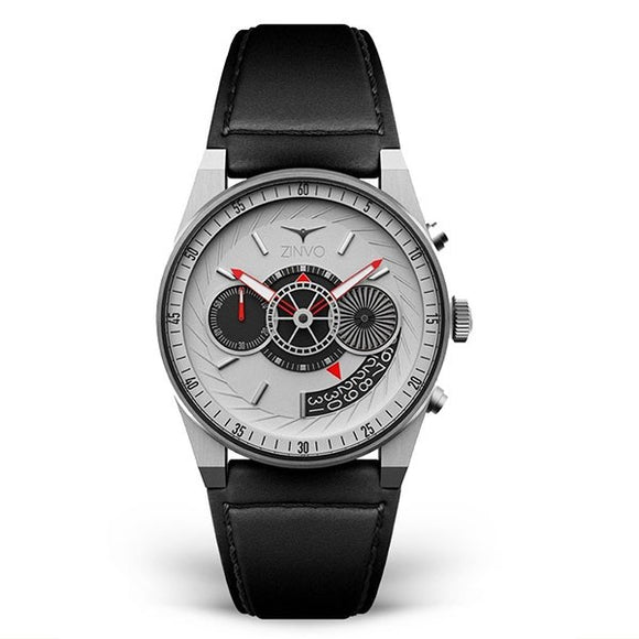 Zinvo Men's Leather Strap Chronograph Watch - Chrono Silver 1