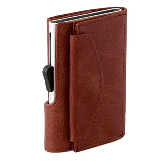 C-Secure Coin Genuine Leather Wallet - CNWCH Cognac
