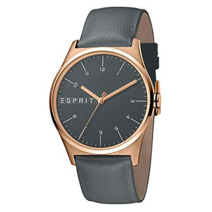 Esprit Men's Grey Dial Leather Strap Analog Watch - ES1G034L0035 1