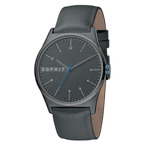 Esprit Men's Grey Dial Leather Strap Analog Watch - ES1G034L0045 1