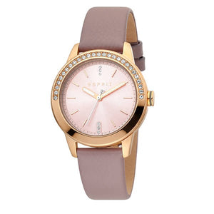 Esprit Women's Pink Dial Leather Strap Analog Watch - ES1L136L0065 1