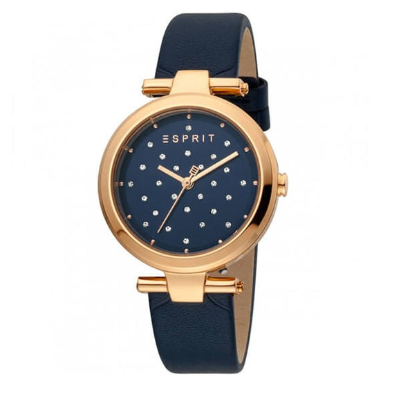 Esprit Women's Blue Dial Leather Strap Analog Watch - ES1L167L0055 1