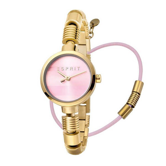 Esprit Women's Pink Dial Gold Plated Stainless Steel Watch ES1L017M0055