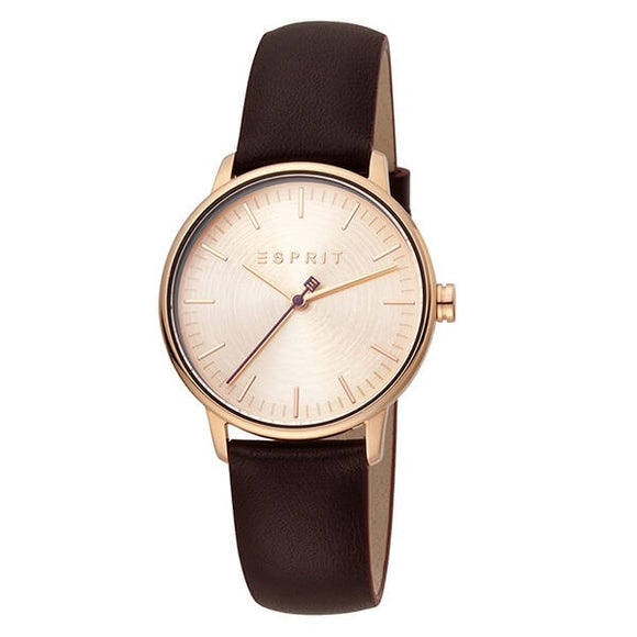 Esprit Women's Rose Dial Leather Strap Analog Watch - ES1L154L0045 1