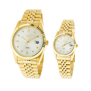 Eliz men's and women's White Dial Gold plated case and band analog ES8332-GWG Pair Watches