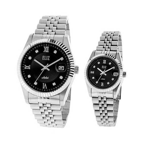 Eliz men's and women's Black Dial stainless steel case and band analog ES8332-SNS Pair Watches