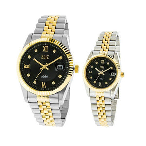 Eliz men's and women's Black Dial Two-Tone Gold Plated stainless steel case and band analog ES8332-TNT Pair Watches