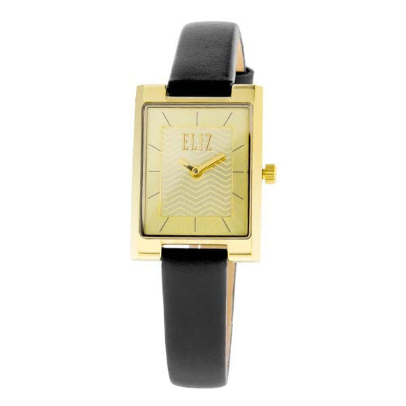 Eliz women's Champagne dial Gold plated stainless steel case Black genuine leather Analog Watch ES8510L2GCN