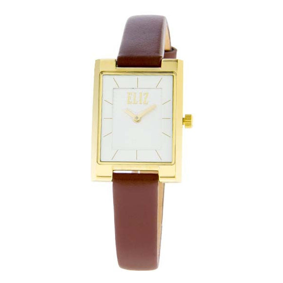 Eliz women's White dial Gold plated stainless steel case Brown genuine leather Analog Watch ES8510L2GWO