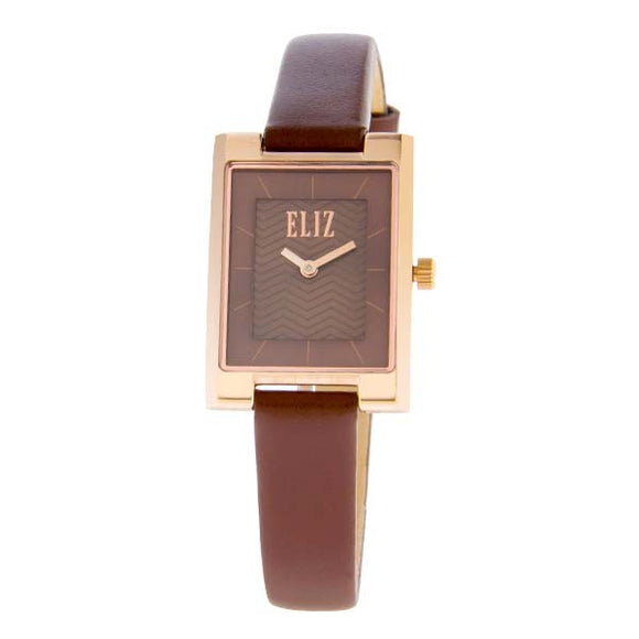 Eliz women's Brown dial Rose Gold plated stainless steel case brown genuine leather Analog Watch ES8510L2ROO