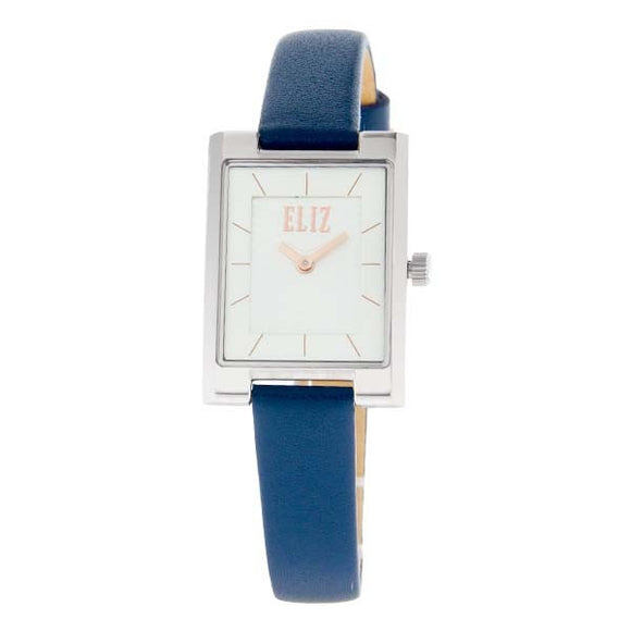 Eliz women's White dial stainless steel case blue genuine leather Analog Watch ES8510L2SWB
