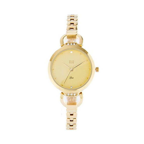 Eliz women's Champagne Dial Gold plated case and Band Analog Watch ES8532L2GCG
