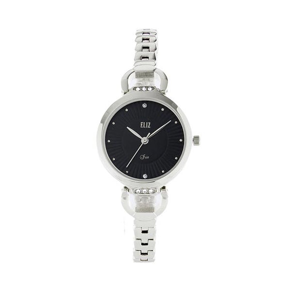 Eliz women's Black Dial Silver plated case and Band Analog Watch ES8532L2SNS