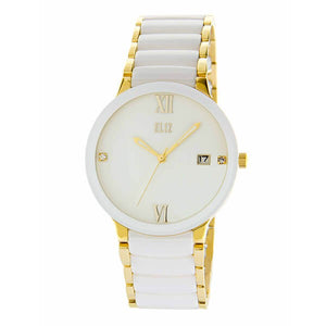 Eliz Men's White Dial White ceramic Band Gold plated stainless steel case Analog Watch ES8540G4GWW 1