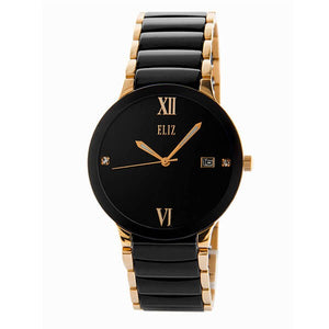 Eliz Men's Black Dial Black ceramic Band Rose Gold plated stainless steel case Analog Watch ES8540G4RNN 1