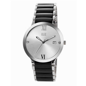 Eliz Men's White Dial Black ceramic Band stainless steel case Analog Watch ES8540G4SWN 1