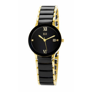 Eliz Women's Black Dial Black ceramic Band Gold plated stainless steel case Analog Watch ES8540L4GNN