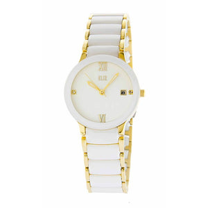 Eliz Women's White Dial White ceramic Band Gold plated stainless steel case Analog Watch ES8540L4GWW 1