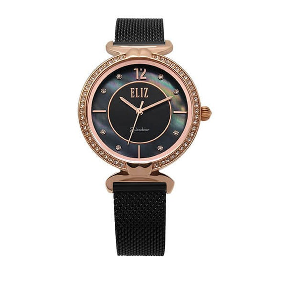 Eliz women's Black Mother of pearl Dial Rose Gold plated case Black plated mesh band analog watch ES8562L2RNN 1