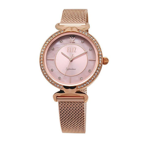 Eliz women's Pink Mother of pearl Dial Rose Gold plated case and mesh band analog watch ES8562L2RPR 1