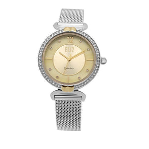 Eliz women's Champagne Mother of pearl Dial stainless steel case and mesh band analog watch ES8562L2SCS 1