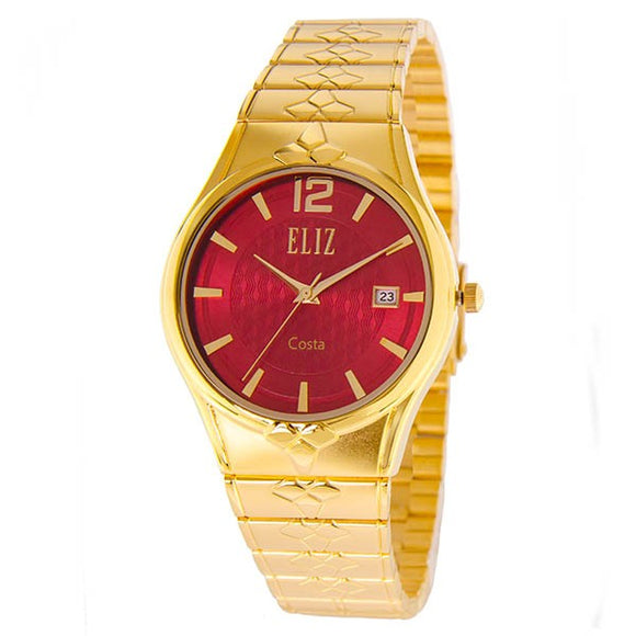 Eliz men's Red dial Gold plated case and band Analog ES8568G2GRG Watch
