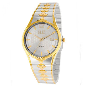 Eliz men's White dial Gold and Silver plated case and band Analog ES8568G2TWT Watch