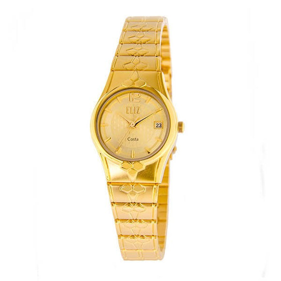 Eliz Women's Champagne dial Gold plated case and band Analog ES8568L2GCG Watch