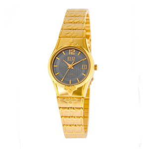 Eliz Women's Grey dial Gold plated case and band Analog ES8568L2GGG Watch