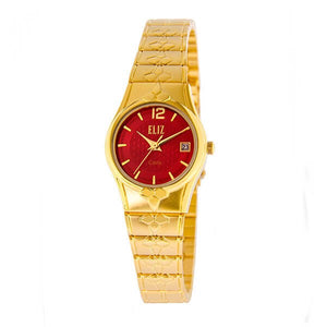 Eliz Women's Red dial Gold plated case and band Analog ES8568L2GRG Watch