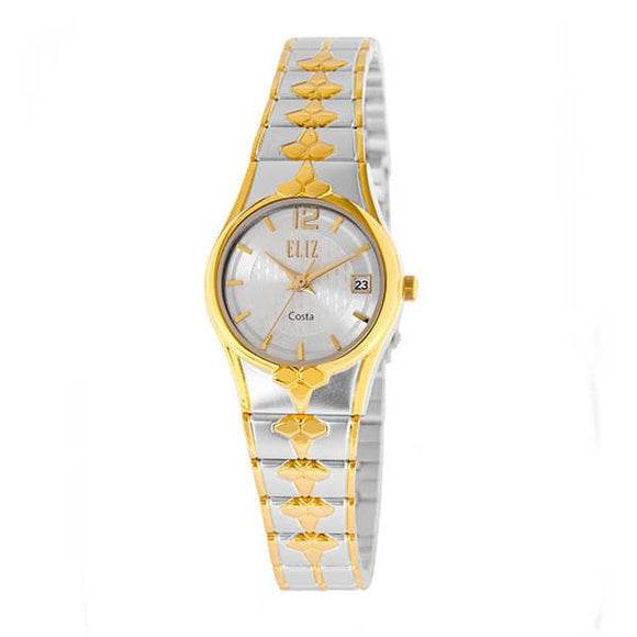 Eliz Women's Silver dial Two-Tone Gold and silver plated case and band Analog ES8568L2TST Watch