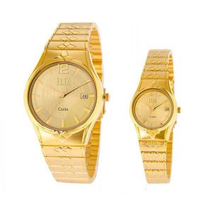 Eliz men's and women's Champagne dial Gold plated case and band Analog ES8568 GCG Pair Watches