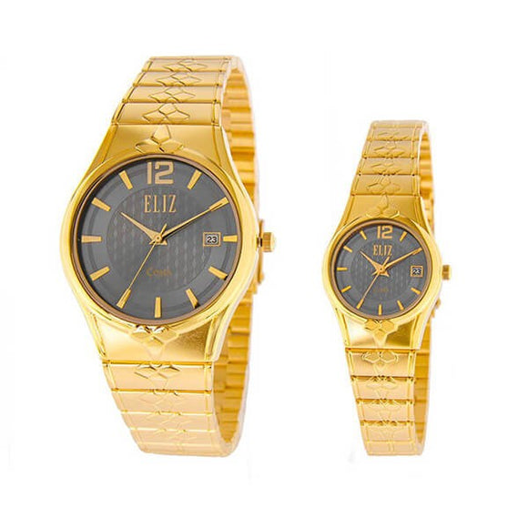 Eliz men's and women's Grey dial Gold plated case and band Analog ES8568 GGG Pair Watches