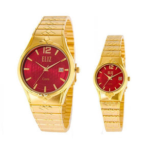 Eliz men's and women's Red dial Gold plated case and band Analog ES8568 GRG Pair Watches